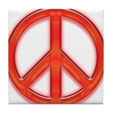 peaceGlowRed Tile Coaster