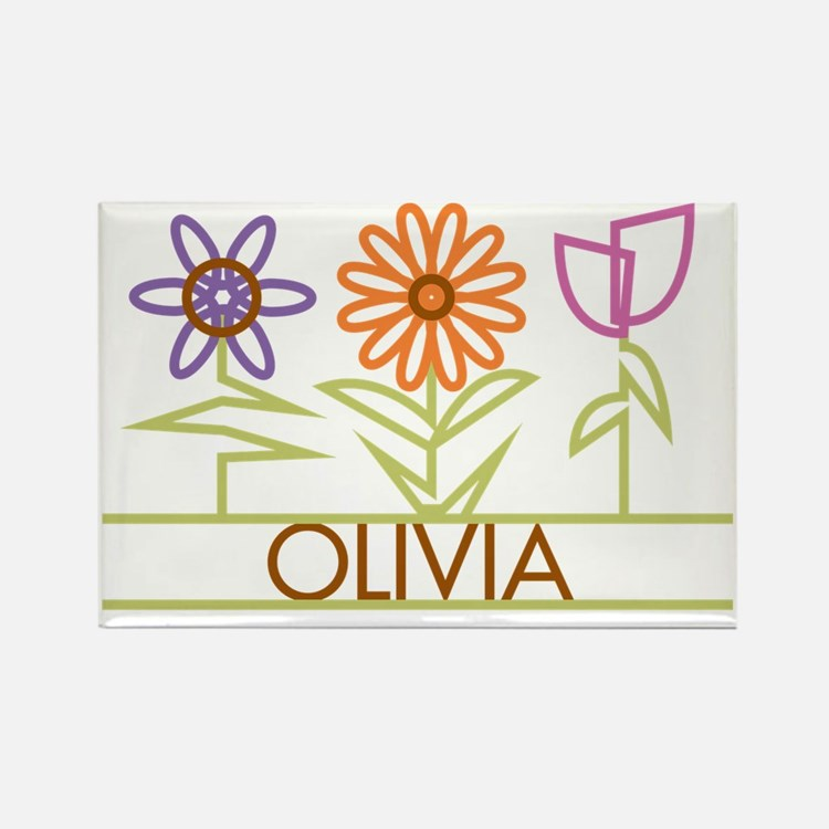 OLIVIA-cute-flowers Rectangle Magnet