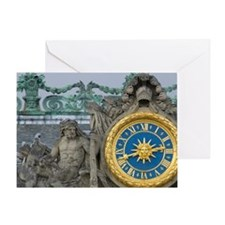 France, Versailles, statue and clock Greeting Card