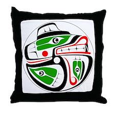 bear-salmon-outerline Throw Pillow