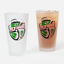 bear-salmon-outerline Drinking Glass