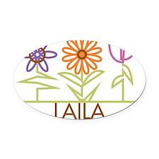 LAILA-cute-flowers Oval Car Magnet