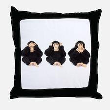 Hear, See, Speak No Evil Monkey Throw Pillow