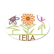 LEILA-cute-flowers Oval Car Magnet