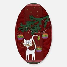 Handmade Kitty Jingle Christmas Car Sticker (Oval)