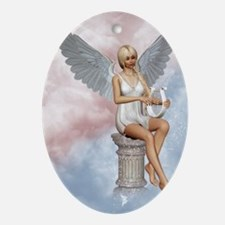 angels_song_greeting_card_192_V_F Oval Ornament