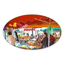 Market stalls with fruits and veget Decal
