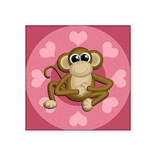 "Monkey Me Pink Love nook Square Sticker 3"" x 3"""