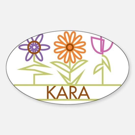 KARA-cute-flowers Sticker (Oval)