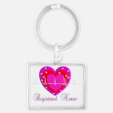 Registered Nurse PINK HEART 201 Landscape Keychain