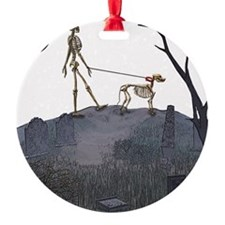 skeleton dog person Ornament