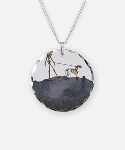 skeleton dog person Necklace Circle Charm