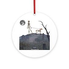 skeleton dog person Round Ornament