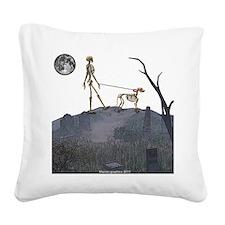 skeleton dog person Square Canvas Pillow