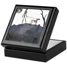 skeleton dog person Keepsake Box