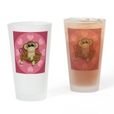 Monkey Me Pink Love Drinking Glass