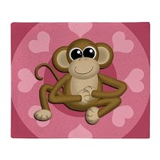 Monkey Me Pink Love Throw Blanket