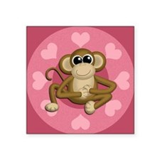 "Monkey Me Pink Love Square Sticker 3"" x 3"""