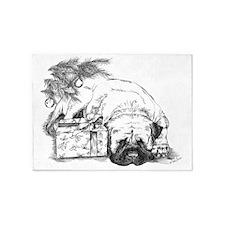 Mastiff Under the Christmas Tree 5'x7'Area Rug