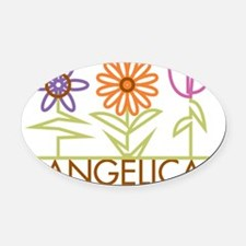 ANGELICA-cute-flowers Oval Car Magnet