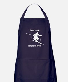Born To Ski Forced To Work Apron (dark)