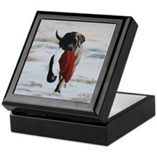 Brindle Puppy With Santa Hat Keepsake Box