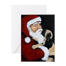 Santa and Mastiff Puppy Greeting Card