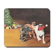 Puppies Chasing Santa Hat Mousepad