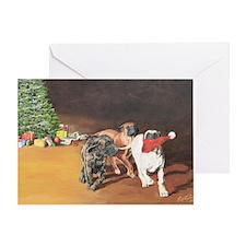 Puppies Chasing Santa Hat Greeting Card