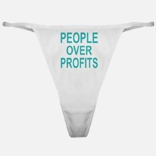 people over profits teal Classic Thong