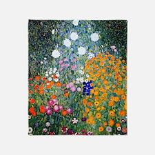 iPad Klimt Flowers Throw Blanket