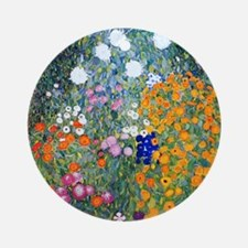 iPad Klimt Flowers Round Ornament