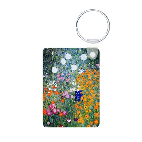 Journal Klimt Flowers Aluminum Photo Keychain