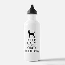 blackandwhite_obey Water Bottle
