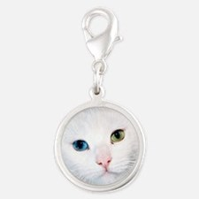 cat 1 Silver Round Charm