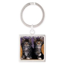 Cover Cat Square Keychain