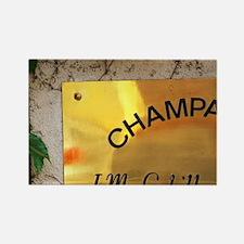 A brass sign : Champagne J.M. Gob Rectangle Magnet