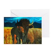 buffalo with babe2 Greeting Card