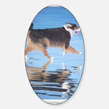 Water Dog card shirt Sticker (Oval)