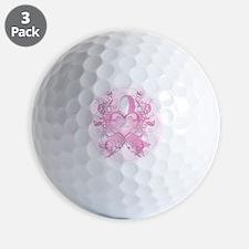 PinkRibLoveSwirlRpTR Golf Ball