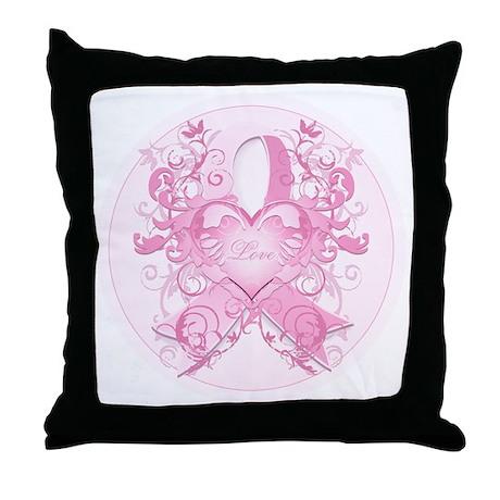 PinkRibLoveSwirlRpTR Throw Pillow