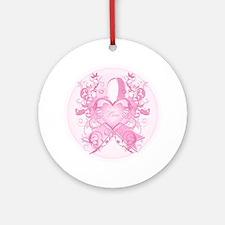 PinkRibLoveSwirlRpTR Round Ornament