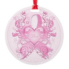 PinkRibLoveSwirlRpTR Ornament