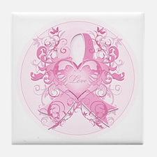 PinkRibLoveSwirlRpTR Tile Coaster
