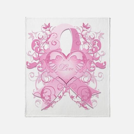 PinkRibLoveSwirlTRs Throw Blanket