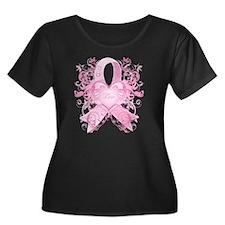 PinkRibL Women's Plus Size Dark Scoop Neck T-Shirt
