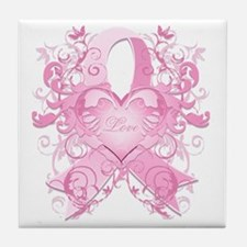 PinkRibLoveSwirlTRs Tile Coaster