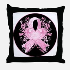 PinkRibLoveSwirlRbTR Throw Pillow