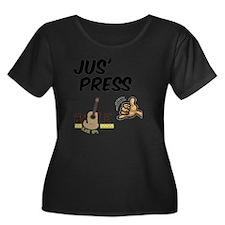 jus_pres Women's Plus Size Dark Scoop Neck T-Shirt