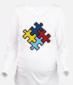 Autism Puzzle Long Sleeve Maternity T-Shirt